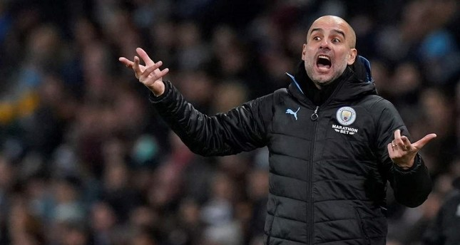 Manchester City manager Pep Guardiola reacts during a match against Port Vale, Manchester, Jan. 4, 2020. Reuters Photo