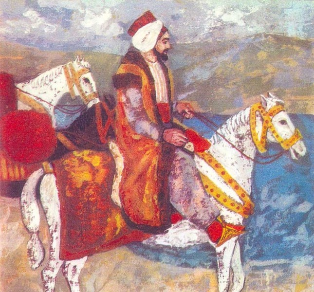 A painting of Evliya Çelebi shows the traveler on horseback.