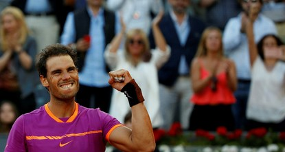 pRafael Nadal beat Dominic Thiem 7-6 (10-9), 6-4 on Sunday to win a fifth title at the Madrid Masters./p