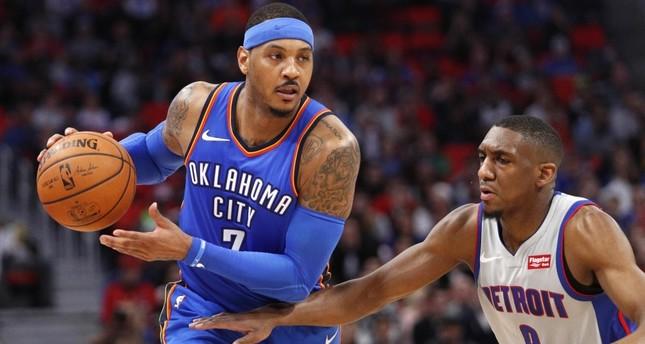 Oklahoma City Thunder forward Carmelo Anthony looks to score against the Detroit Pistons, Jan. 27.