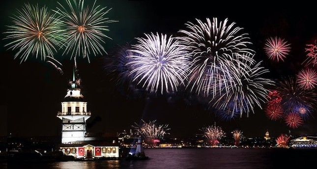 Fireworks are set off near the Maiden Tower over the Bosporus as a part of New Year's Eve celebrations.
