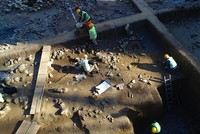 Aerial view of the metro excavation site in Istanbul's Beşiktaş district, where archaeologists believe an ancient settlement lies near the site of 3,500-year-old kurgan type burial...