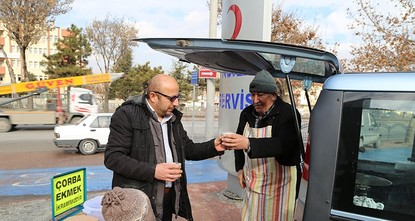 pA retired man living in Turkey's central Konya province distributes free soup made by his wife to over 150 people in front of a newly opened hospital, with the goal to warm people's hearts amid...