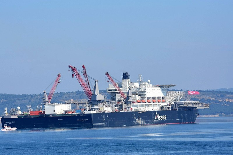 The world's biggest construction vessel Pioneering Spirit continues to lay TurkStream's first offshore line. (DHA Photo)