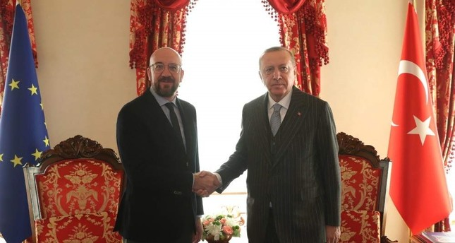 A handout photo made available by Turkish Presidential press office shows Turkish President Recep Tayyip Erdo?an R and European Council President Charles Michel L meeting in Istanbul, Turkey Jan. 11 2020.  EPA Photo