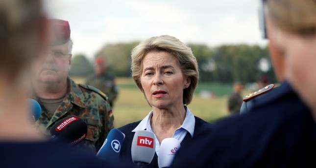 German Minister of Defence Ursula von der Leyen talks to the media from the site where German armed forces helicopter crashed in Dehmke near Hanover, Germany (Reuters Photo)