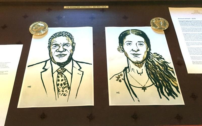 Drawings of the Nobel Peace Prize winners Denis Mukwege and Nadia Murad are displayed in Oslo, Norway October 5, 2018. (REUTERS Photo)