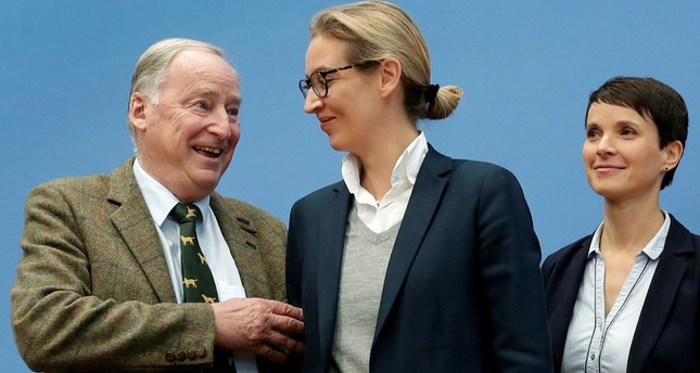 AfD figureheads Frauke Petry (R) with Alexander Gauland (L) and Alice Weidel, in Berlin, Sept. 25.