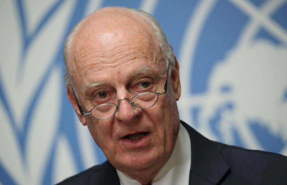 U.N. Special Envoy for Syria Staffan de Mistura attends a news conference over Syria, in Geneva, Dec. 18.