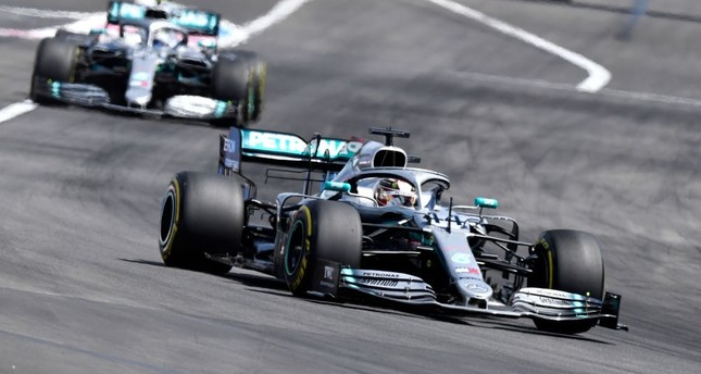 Lewis Hamilton (front) leads ahead of Valtteri Bottas and Charles Leclerc during the Formula One Grand Prix de France at the Circuit Paul Ricard in Le Castellet, June 23, 2019.