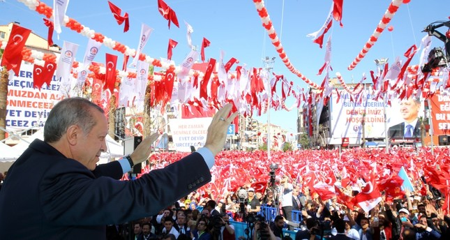 President Recep Tayyip Erdoğan addressing the crowd during an inauguration ceremony at the western Denizli province on Friday.