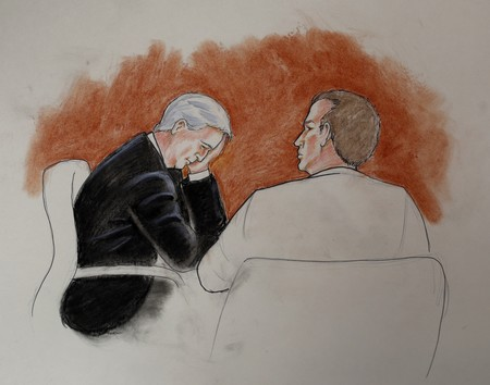 Taylor Swift Radio Host	  In this courtroom sketch, defendant David Mueller, a former radio DJ, left, sits with his attorney during a trial Aug. 10, 2017. (AP Photo)