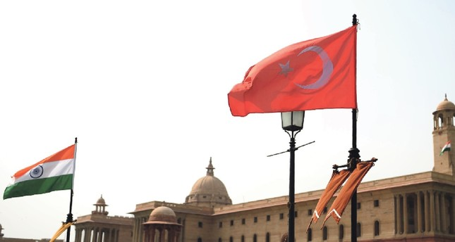 The national flags of Turkey and India seen flying in Rajpath ahead of an official visit by President Erdoğan as part of Ankara's recent agenda to reform its foreign policies,  New Delhi, April 30.
