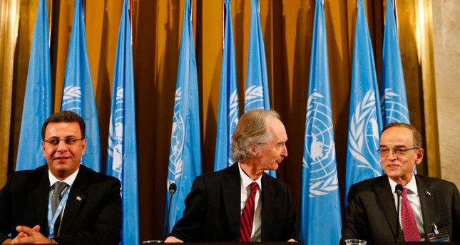 UN Special Envoy to Syria Geir Pedersen C, co-chair Ahmad Al-Kuzbari L and co-chair opposition Syrian Negotiations Commission Hadi Al-Bahra attend ceremony to mark opening of a meeting of Syria constitution-writing committee AFP Photo