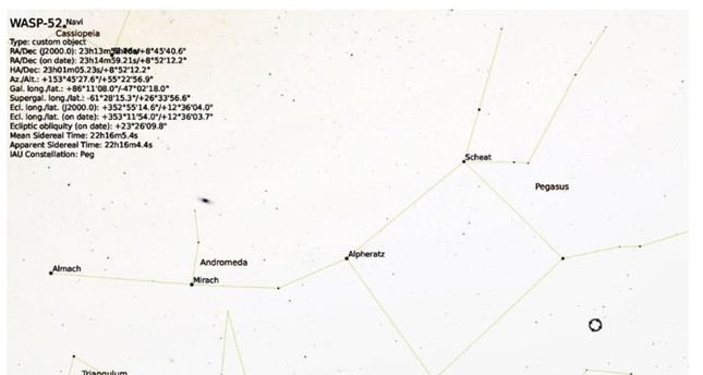 موقع النجم WASP-52  يبدو في الدائرة إلى أسفل يمين الصورة من الأرشيف