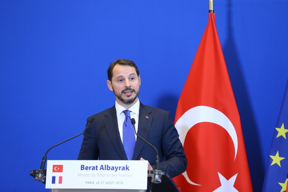 Treasury and Finance Minister Berat Albayrak speaks during a joint press conference with France's Finance Minister Bruno La Maire (not pictured) at the ministry in Paris, France, Aug. 27.