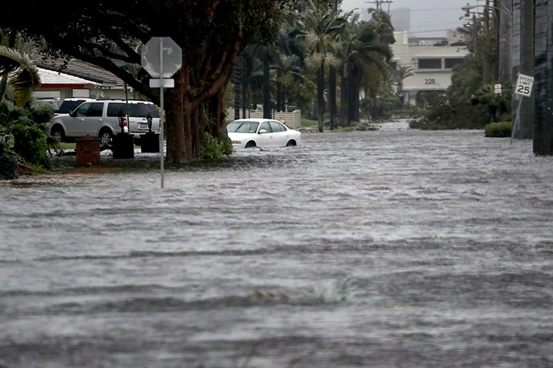 Floodwaters cover part of 3rd Ave in Dania Beach, east of U.S. Route 1, Fla., Sunday, Sept. 10, 2017 (AP Photo)