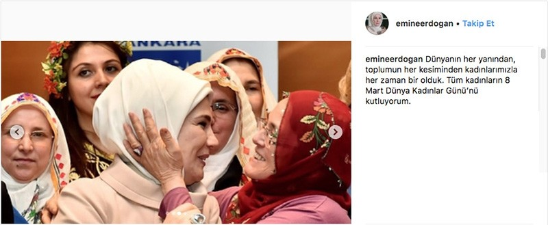 A photo posted on Instagram on March 8, 2018, by Turkeyu2019s first lady Emine Erdou011fan to commemorate International Women's Day. (Sabah File Photo)