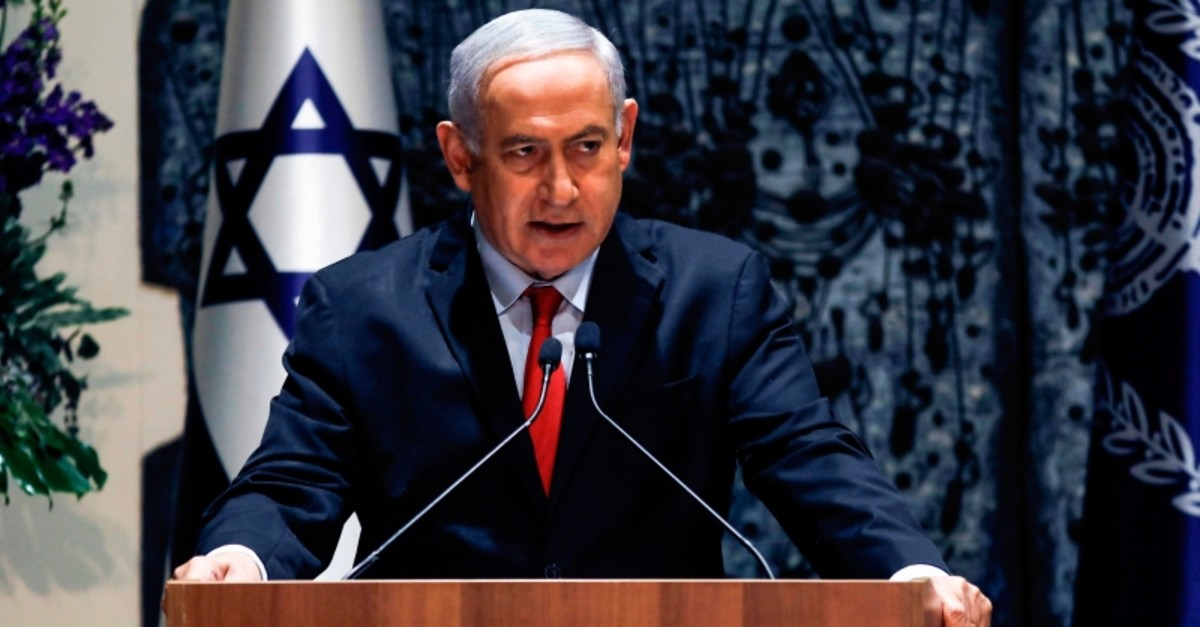 Israeli Prime Minister Benjamin Netanyahu makes an address at the president's residence in Jerusalem on April 17, 2019. (AFP Photo)