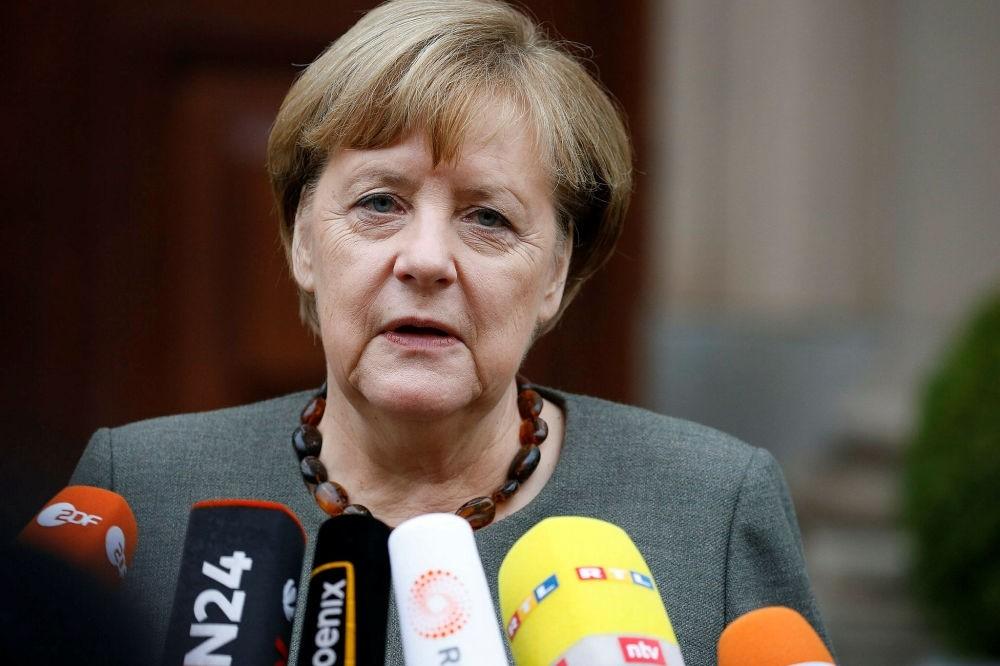 German Chancellor Angela Merkel speaks at the German Parliamentary Society in Berlin, Nov. 16.