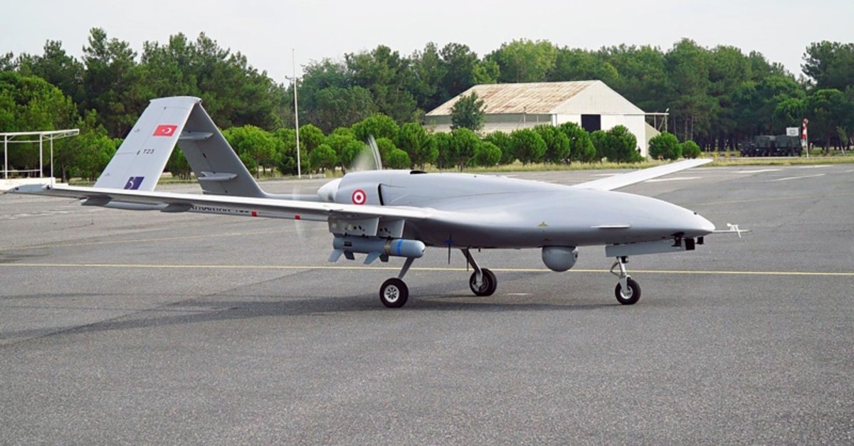 This file photo shows a Turkish Bayraktar TB2 unmanned aerial vehicle.