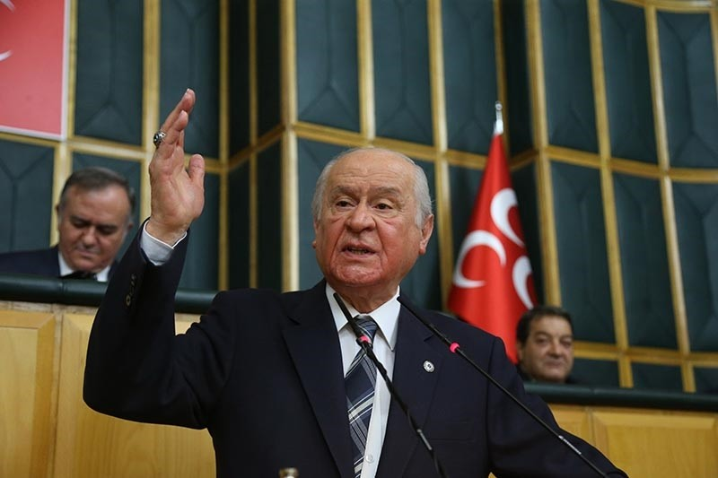 Nationalist Movement Party (MHP) Chairman Devlet Bahu00e7eli speaks at parliamentary group meeting on Dec. 4, 2018. (IHA Photo)