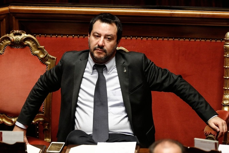 In this picture taken Saturday, Dec. 22, 2018, Italian Interior Minister Matteo Salvini waits for the start of a confidence vote on the budget law at the Italian Senate in Rome. (AP Photo)