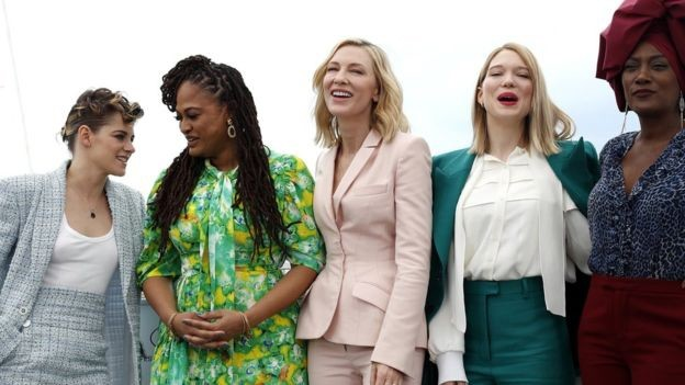 Cate Blanchett (center) with (left to right) Kristen  Stewart, Ava DuVernay, Lea Seydoux and Khadja Nin.