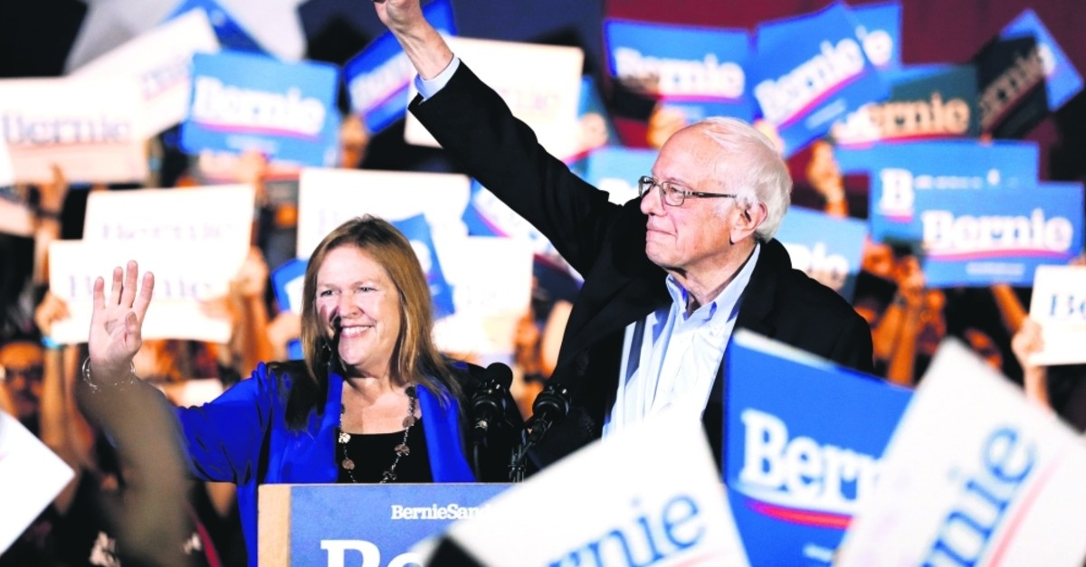 Democratic presidential candidate Sen. Bernie Sanders, I-Vermont, right, with his wife Jane, speaks during a campaign event in San Antonio, Texas, Saturday, Feb. 22, 2020. (AP Photo)