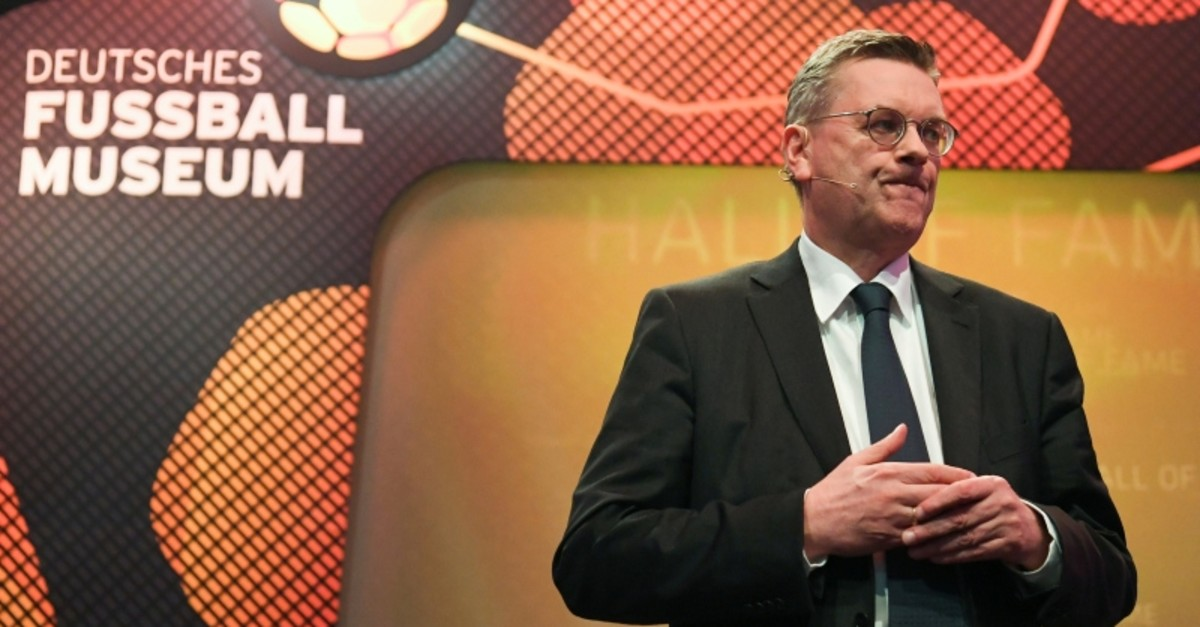 President of German football federation DFB, Reinhard Grindel reacts during the opening of the Hall of Fame, a permanent exhibition honoring German football legends at the German Football Museum in Dortmund, Germany, April 1, 2019. (Reuters Photo)
