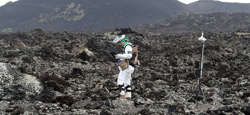 German astronaut Mathias Maurer is seen during some tests of specimen collection in Lanzarote, Canary Islands, Spain, Nov. 22 2017. (EPA Photo)