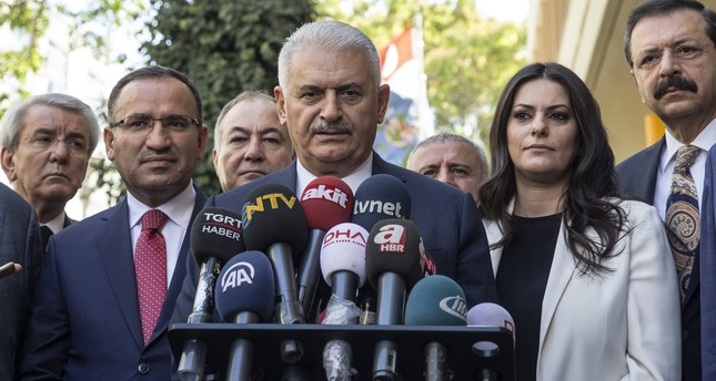 Prime Minister Binali Yıldırım speaks to the media in Ankara, Turkey, Friday Sept. 22, 2017. (AP Photo)