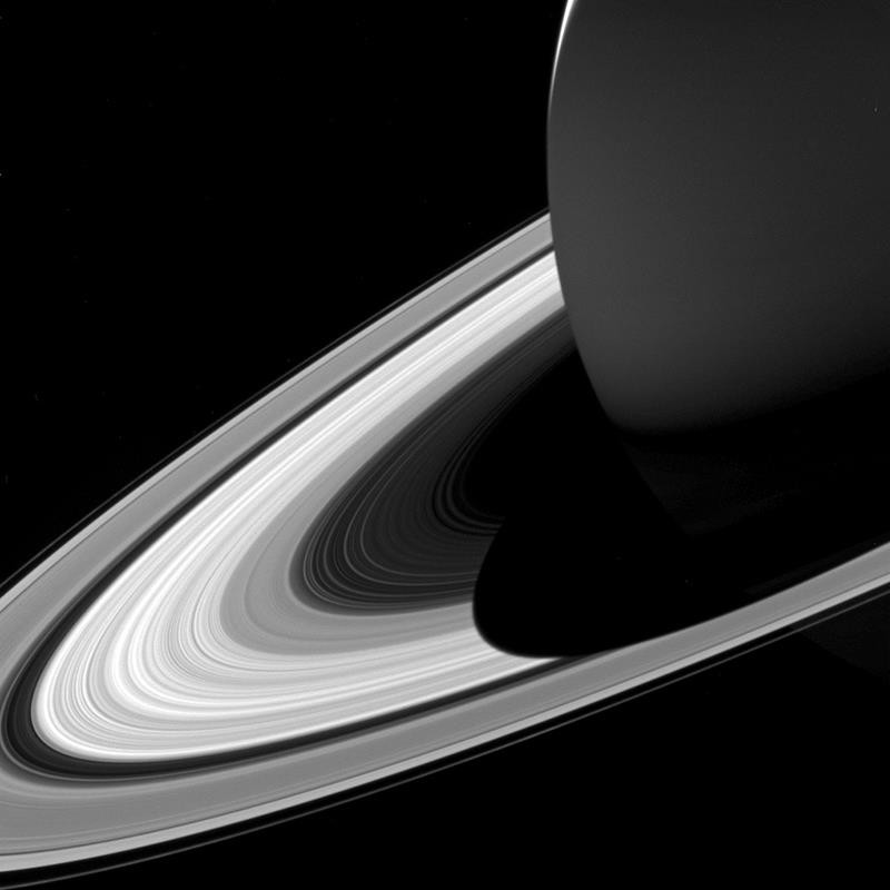 This Feb. 3, 2017 image made available by NASA shows Saturn's shadow on its rings as seen from the Cassini spacecraft.
