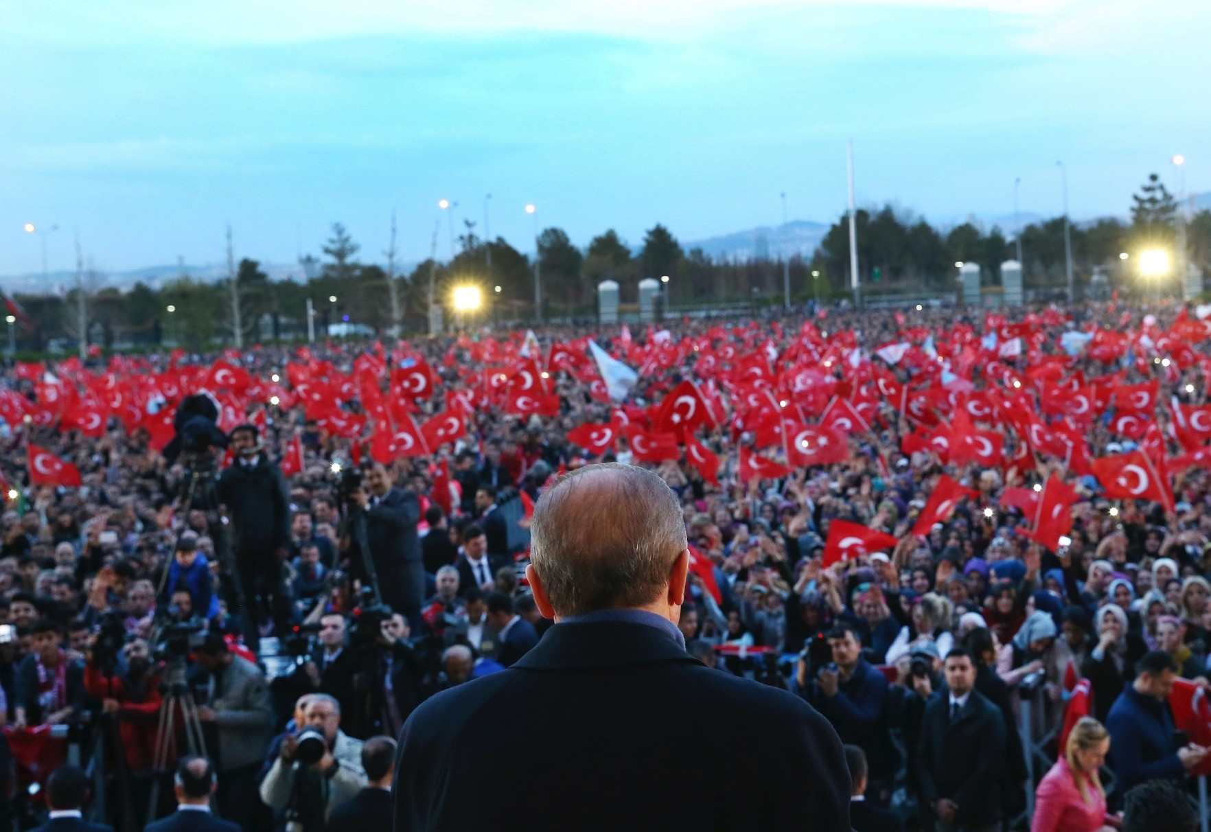 President Recep Tayyip Erdou011fan seen delivering a speech during a rally a day after the constitutional referendum, outside the Presidential Complex in Ankara, April 17.