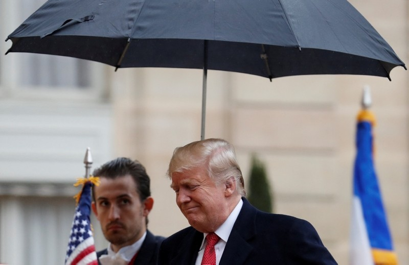 US President Donald Trump arrives to meet France's President Emmanuel Macron at Elysee presidential palace, as part of the commemoration ceremony for Armistice Day, 100 years after the end of the World War I, in Paris, Nov. 10, 2018. (Reuters Photo)