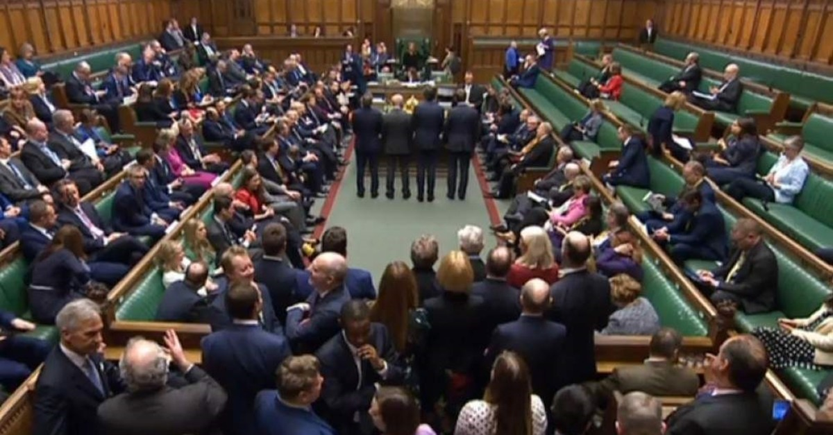A video grab from footage broadcast by the UK Parliament's Parliamentary Recording Unit (PRU) shows tellers announcing the result of a vote on the European Union (Withdrawal Agreement) Bill, in the House of Commons in London on Jan. 9, 2020. (AFP Photo)
