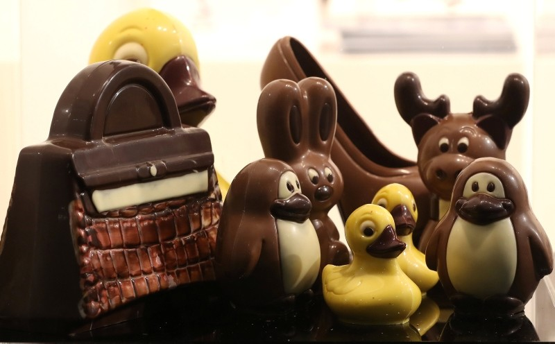 Figurines made of chocolate are seen at the