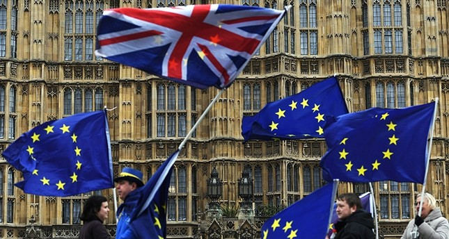 Pro-EU campaigners protest outside the parliament in London, Britain, 29 January, 2018. (EPA Photo)