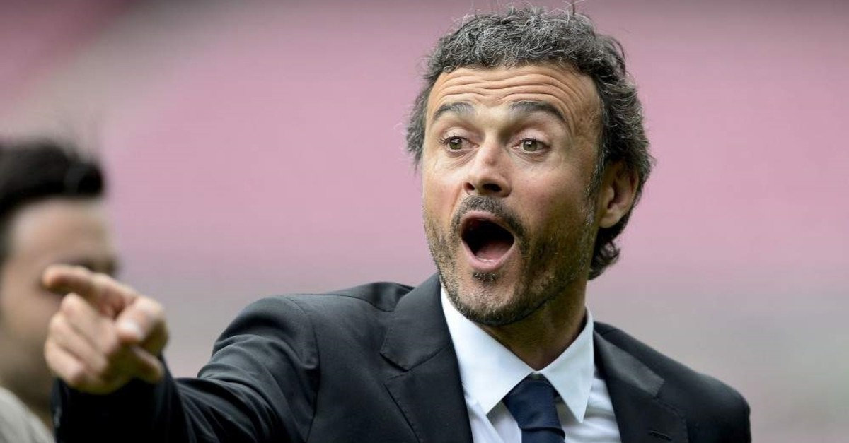 Luis Enrique gestures during his presentation at the Camp Nou stadium in Barcelona, May 21, 2014. (AFP Photo)