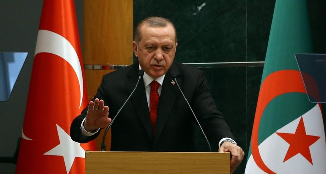 President Recep Tayyip Erdoğan delivers a speech during an economic forum in Algiers, Feb. 27.