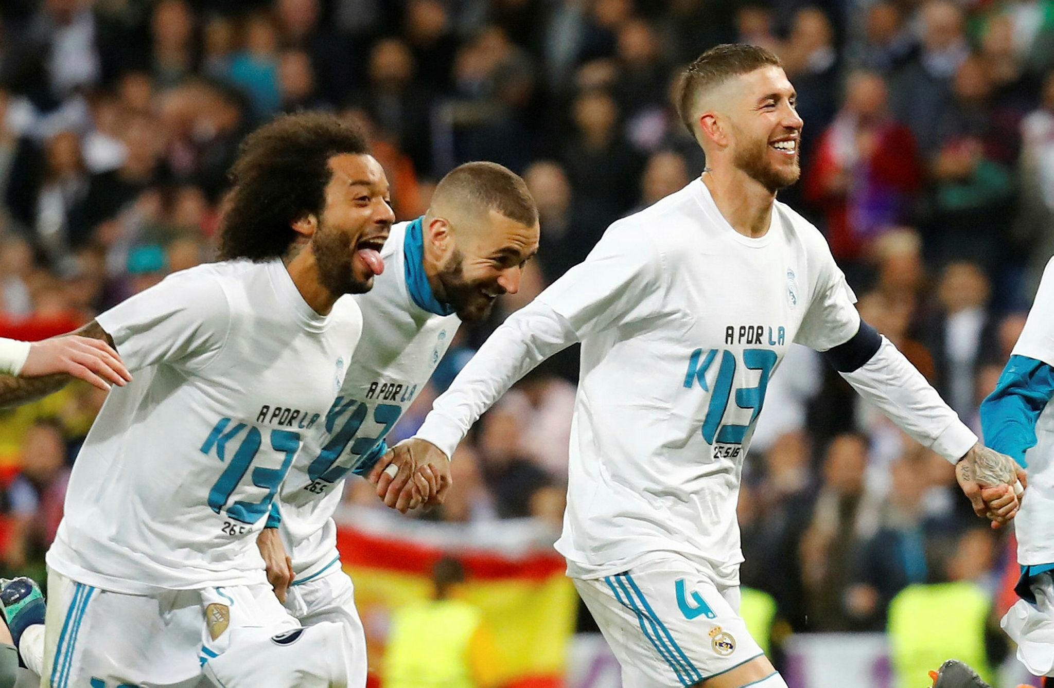Real Madrid's Sergio Ramos, Karim Benzema and Marcelo celebrate after the match (Reuters Photo)