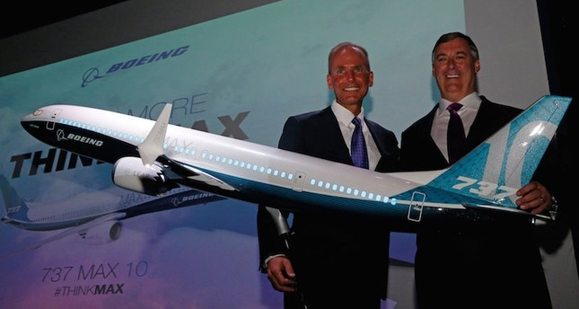Boeing Chairman and CEO Dennis Muilenburg and Boeing Commercal Airplanes President Kevin McAllister are seen at the launch of the Boeing 737 MAX 10, on the first day of the 52nd Paris Air Show. Reuters Photo