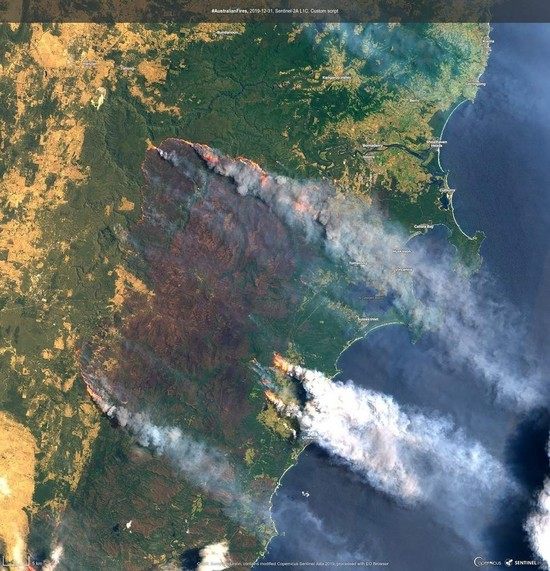 This satellite image shows the Clyde Mountain Fire, 200 kms south of Sydney, Australia. (Copernicus Sentinel Imagery via AP)
