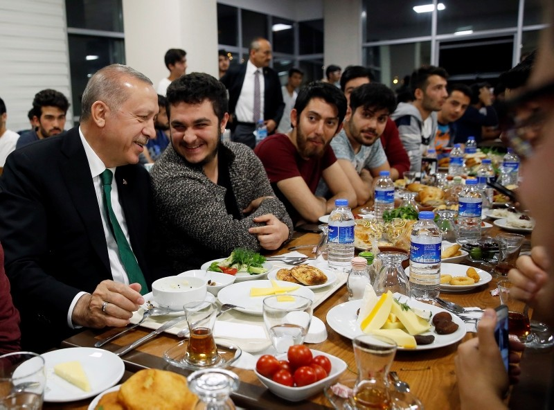Erdou011fan enjoys suhoor with students at Hu00fcseyin Gazi Dormitory in Ankara, Fri. June 1, 2018 (IHA Photo)