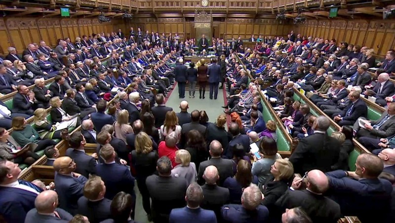 Tellers announce the results of the vote on Cooper's Amendment to delay Brexit in Parliament, in London, Britain, January 29, 2019, in this screen grab taken from video. (Reuters)
