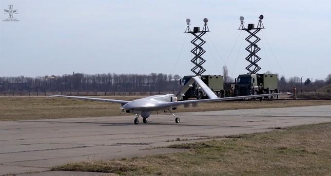 Bayraktar TB2 drone being tested at the Starokostiantyniv Air Base, Khmelnytskyi province, western Ukraine, Oct. 21, 2019. (Ukrainian Air Force via AA)