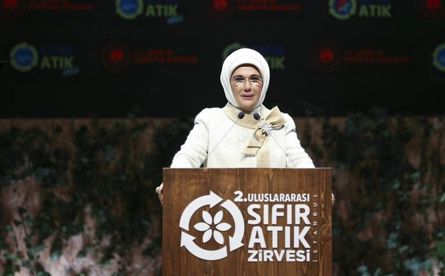 First lady Emine Erdo?an speaks at the 2nd Zero Waste Summit in Istanbul, Nov. 1. (AA Photo)