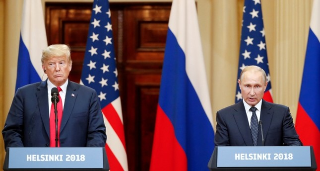 U.S. President Donald Trump and Russian President Vladimir Putin hold a joint news conference after their meeting in Helsinki, July 16, 2018. (Reuters Photo)