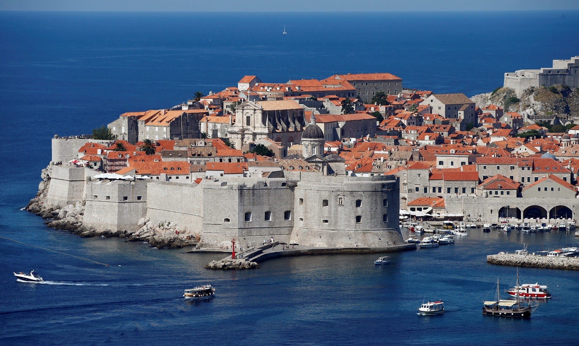 A general view of Croatiau2019s UNESCO protected medieval town of Dubrovnik.