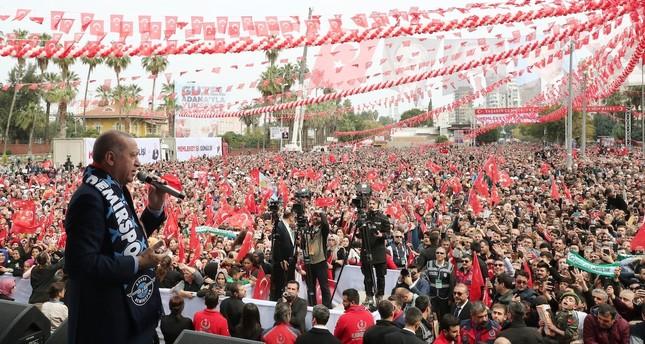 President Recep Tayyip Erdoğan addresses an election rally in Adana, March 10, 2019.